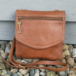 🗝️Fossil Tan Vintage Leather Flap Crossbody